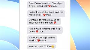 reese witherspoon s shows through sweet texts and
