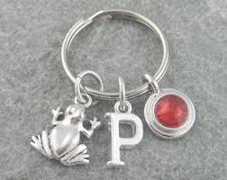 personalized birthstone keychains frog keychain etsy
