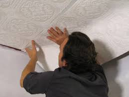How To Put Up Tin Ceiling Tiles by How To Hang Wallpaper On A Ceiling How Tos Diy
