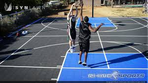 small side yard basketball court w boxwood and net barriers images