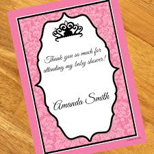 baby shower notes royal princess baby shower personalized thank you notes