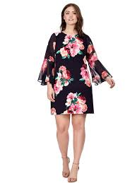 jessica howard rose print shift dress with split sleeves