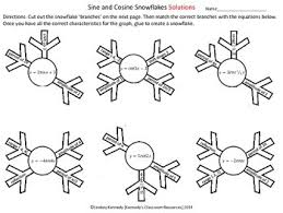 sine and cosine graphs snowflake flower cut out activity tpt