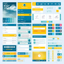 buttons designen set of flat web elements icons and buttons for mobile app and