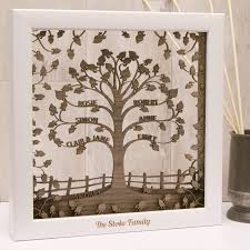 personalised wooden 3d family tree wall by twist