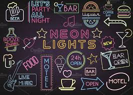 Neon Bar Lights Neon Bar Lights Decoration Mega Set Illustrations Creative Market