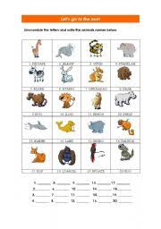 unscramble the letters of the animals names