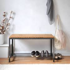 Bench Shoe Storage Reclaimed Wood And Steel Shoe Rack Bench By Möa Design