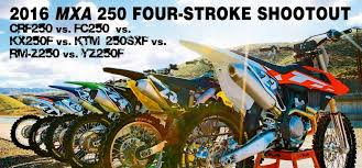 250cc motocross bikes motocross action magazine 2016 mxa 250 four stroke shootout power