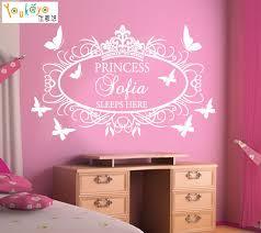 Personalized Nursery Decor Diy Princess Crown Butterflies Personalized Custom Name Wall