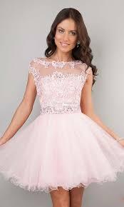 light pink graduation dresses short prom dresses pink high neck beaded applique see through cheap