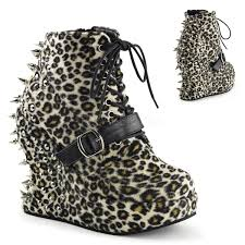leopard print fabric lace up ankle booties