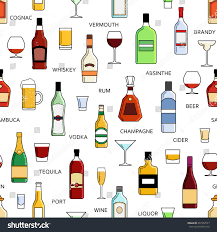 martini liquor vector alcohol bottles collection seamless pattern stock vector