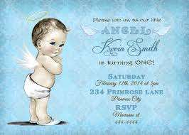 blue damask boy angel 1st first birthday by cuddlebuginvitations
