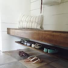 Building A Mudroom Bench Build A Floating Bench And Shoe Shelf The Schmidt Home