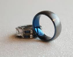 thin blue line wedding band wedding ring set his s men s tungsten carbide brushed silver