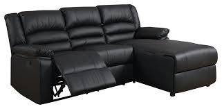 bonded black leather sectional sofa with recliner transitional