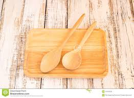 Wooden Kitchen Table Background Wooden Kitchen Spoon And Plate On Wood Table Stock Photo Image