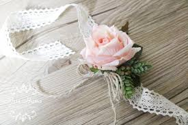 bridesmaid corsage rustic vintage wrist corsage wrapped in lace blush pink roses