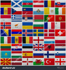 Flag Of All Countries Flags All European Countries On Sackcloth Stock Photo 111032516