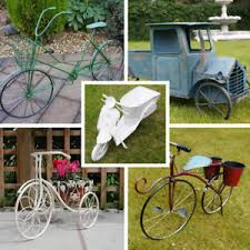 metal vintage bike planter free stand wall mount garden ornament