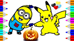printable halloween coloring pages kids minion pikachu dance