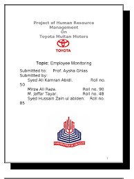 toyota slogan project of human resource management on toyota multan motors