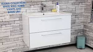 Wall Hung Vanity Unit With Basin Icona Collection White Wall Hung Vanity Unit U0026 Basin Plumbworld