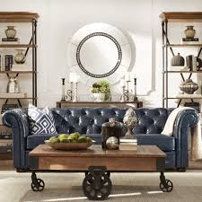 Navy Blue Tufted Sofa by Signal Hills Knightsbridge Navy Blue Bonded Leather Tufted Scroll