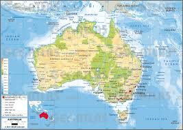 map of austrailia detailed physical map of australia and oceania in russian