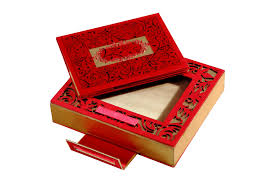 indian wedding card box card box in designer and golden satin