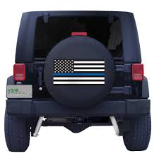 blue jeep back the blue thin blue line american flag spare tire cover