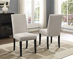 amazon com roundhill furniture biony tan fabric dining chairs