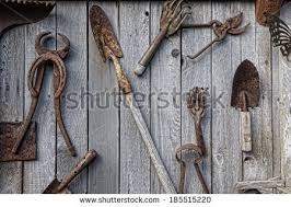 how to hang tools in shed collection antique rusted old garden ranch stock photo 185515220