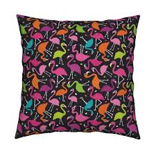 flamingo summer colorful tropical birds retro girls print fabric