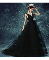 black ball gown v neck court train tulle wedding dress with open