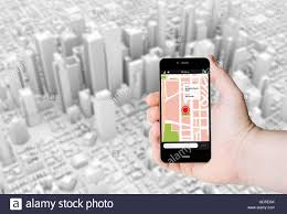 Gps Map Hand Hold A Smartphone With Gps Map On A Screen On The Background