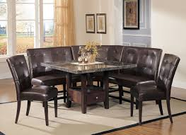 marble top dining table with sectional leather upholstered corner