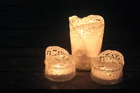 diy doily tea light holders