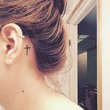 17 behind the ear cross tattoos