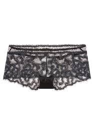 black lace trim forms black lace briefs with leavers lace trim and