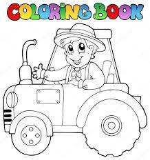coloring book farmer on tractor u2014 stock vector clairev 10246515