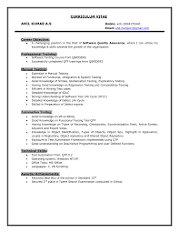 Testing Resume For 1 Year Experience Software Testing Resume Sample Resume For Experienced Software