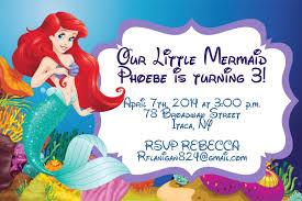 girls little mermaid printable birthday party invitation