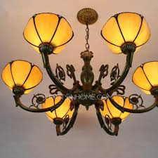 Chandelier For Sale 6 Light Tiffany Glass Shade Antique French Chandeliers For Sale