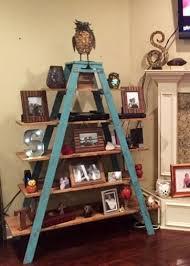 vintage on the shelf wooden shelving unit with vintage ladders 6 shelves