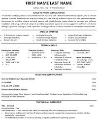 Network Admin Resume Cv Templates Network Administrator