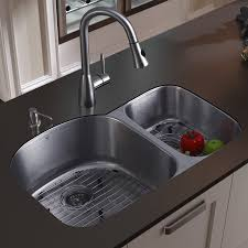 Sink With Double Faucet Vigo 31 Inch Undermount 70 30 Double Bowl 18 Gauge Stainless Steel