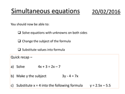 basic simultaneous equations substitution by danielwkelly