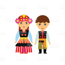 vector icon of poles in national dress polish traditional costume